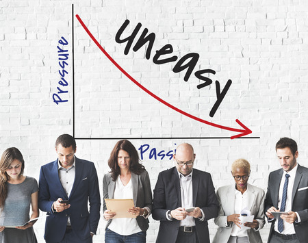 Uneasy concept with group of people Stock Photo