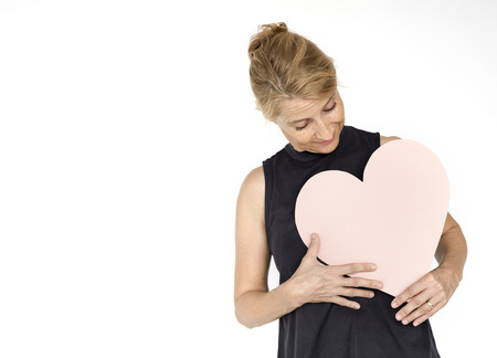 Woman Hold Paper Heart Love Romantic