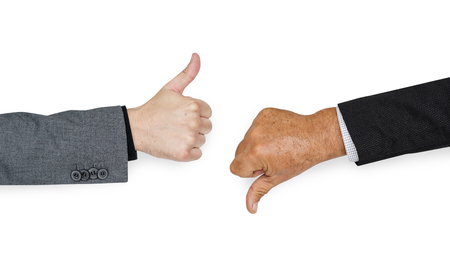 worst: Human Hands Thumbs Up Thumbs Down Sign Concept