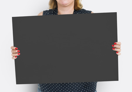 Woman Holding Banner Placard Copy Space Blank
