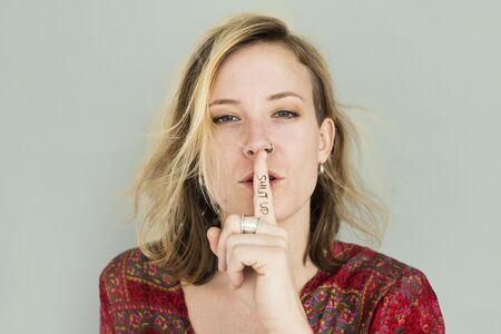 Caucasian Lady Hand Gesture Shut Up