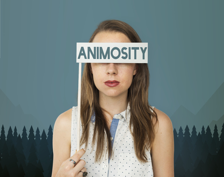 Young woman with animosity concept
