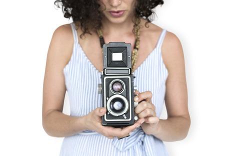 Woman holding a twin-lens reflex camera Banco de Imagens