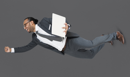 Indian Business Man Achieve Laptop Stock Photo