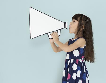 Little Girl Megaphone Positive Shoot