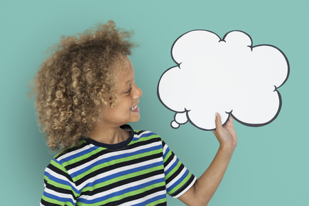 papercraft: Little Caucasian Boy Smiling Chatbox