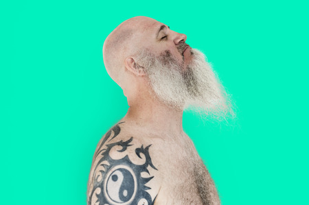 Bearded Caucasian Man Tattoo Smile