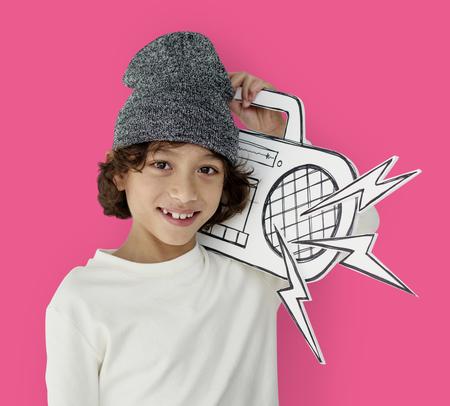 papercraft: Little Boy Holding Jukebox Smiling Papercraft