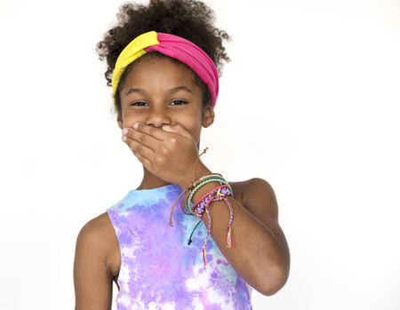Little Girl Laughing Happiness Cover Mouth Studio Portrait