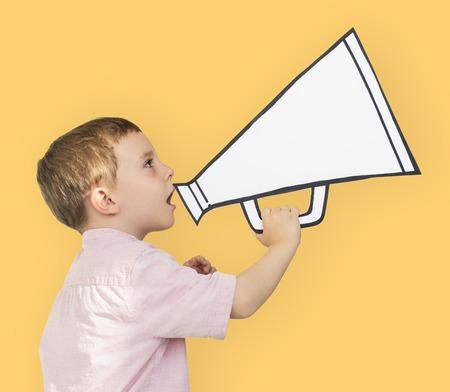 papercraft: Caucasian Little Boy Holding Papercraft Megaphone Stock Photo