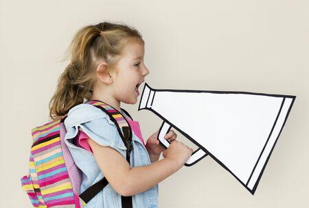 papercraft: Little Girl Holding Papercraft Megaphone