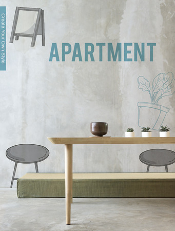 renovated: Apartment DIY Decoration Furnishing Interior Stock Photo