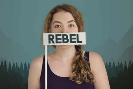 Young woman with rebel concept