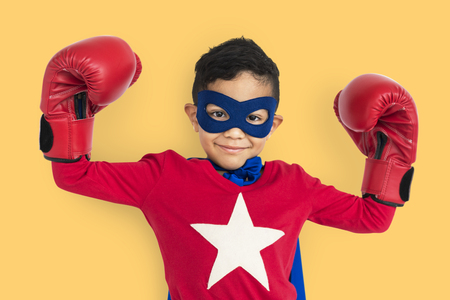 Boy in superhero costume