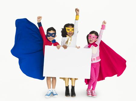 Superhero Kid Smiling Arms Raised Banner Copy Space Reklamní fotografie