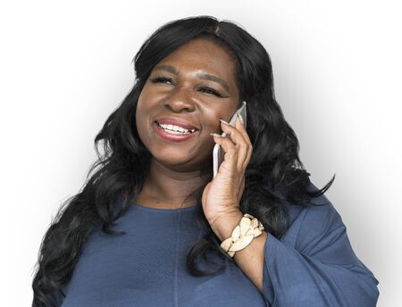 African Descent Woman Smiling Talking Stock Photo