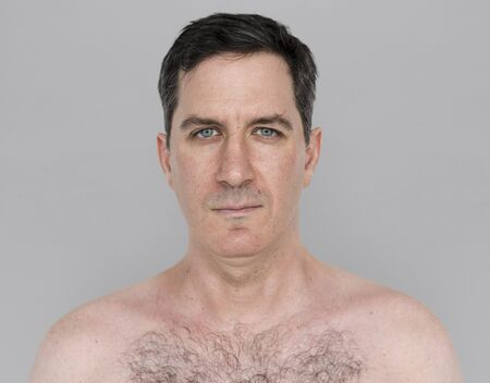 frontal portrait: Caucasian Man Bare Chested Shoot