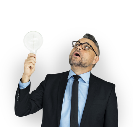 Businessman with a lightbulb concept