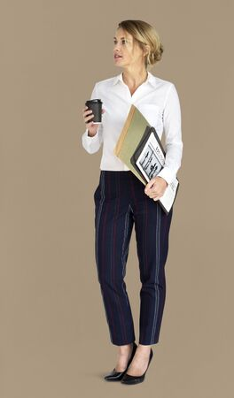neutral: Caucasian Business Lady Coffee Folders Concept Stock Photo
