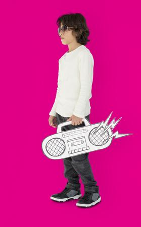 papercraft: Caucasian Little Boy Holding Fake Jukebox