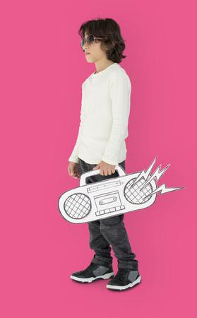 Caucasian Little Boy Holding Fake Jukebox