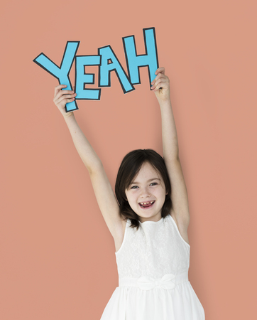 Girl with yeay word concept Stok Fotoğraf - 113676384