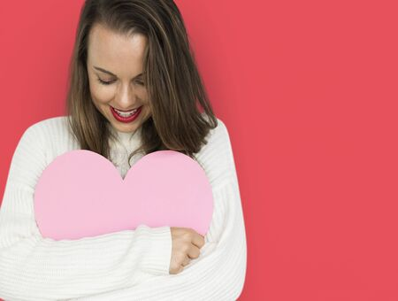 Young Lady Hugging Heart Love