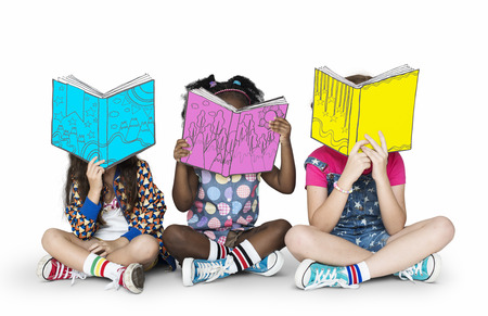 portrait young girl studio: Children Girlfriends Reading Book Education Togetherness Studio Portrait