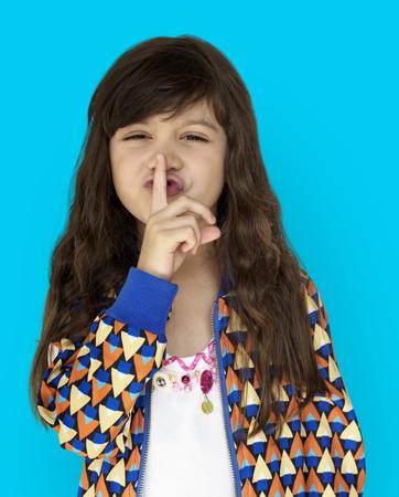 Little Girl Smiling Happiness Quiet Shut Up Secret Shh Portrait Stock Photo