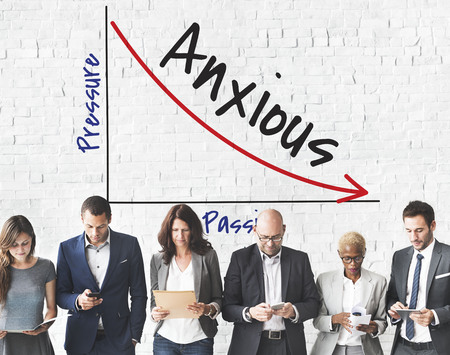 Group of people with anxious concept Stock Photo