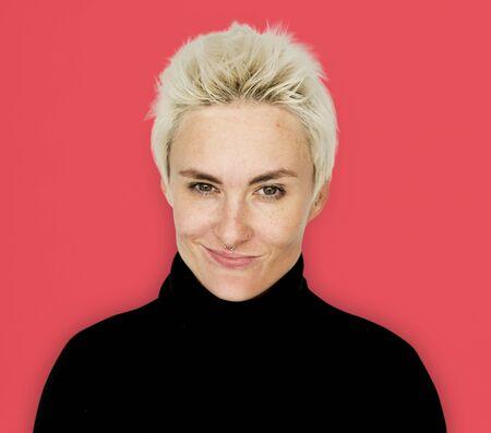 Caucasian Blonde Woman Smirk Smile Stock Photo