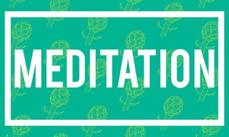 Meditation Word Artichoke Background Pattern Stock Vector - 75896014