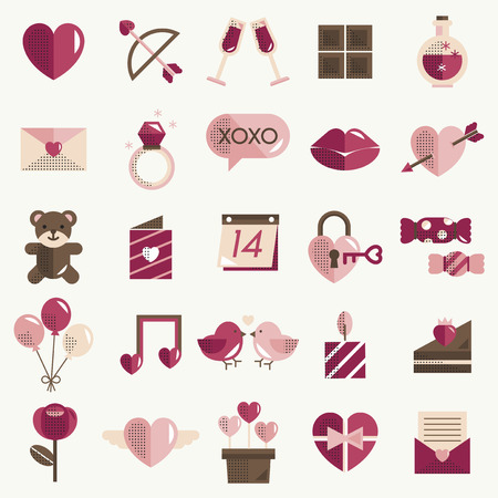 Febrero Happy Valentine Icon Set Vector Foto de archivo - 76298182