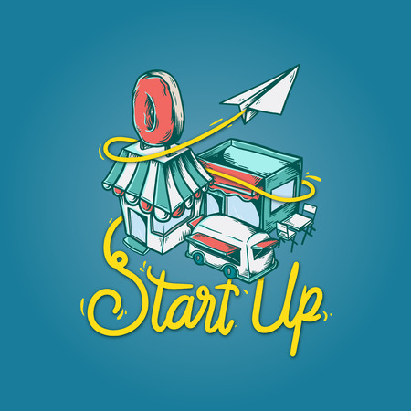 Start up Small Business Development Vision Concept Çizim