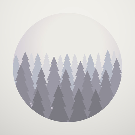 Pine Trees Park Vector Graphic Concept