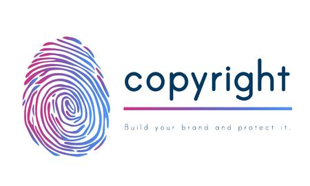 Diseño de logotipo Patente concepto de la huella digital Foto de archivo - 75836750