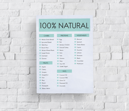 100 percent natural concept on a wall Stock Photo