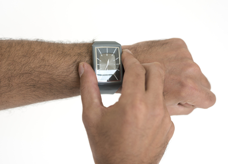 Hands Touch Wristwatch Time Waiting Stock Photo
