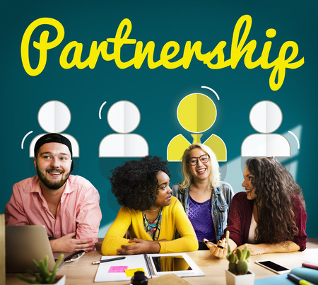 파트너십 기업 팀 리더 글꼴 개념