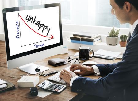Unhappy concept on computer screen