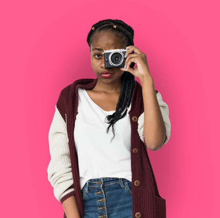 neutral: African Descent Girl Holding Camera