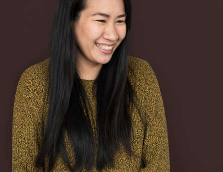 Asian Woman Cheerful Smiling Concept Stock Photo