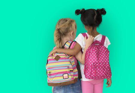 Little Girl Children Rear View Friendship Togetherness Reklamní fotografie