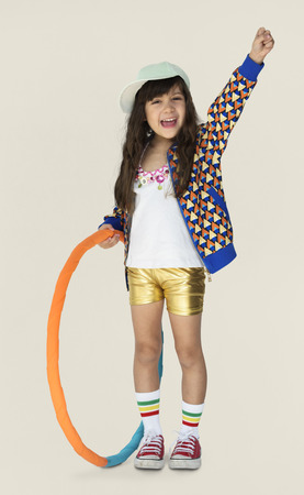 Little Girl Smiling Happiness Hula Hoop Studio Portrait Stock Photo