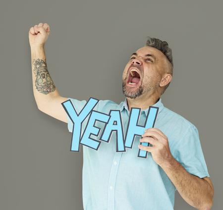 yeah: Caucasian Man Shouting Positive Yeah Stock Photo