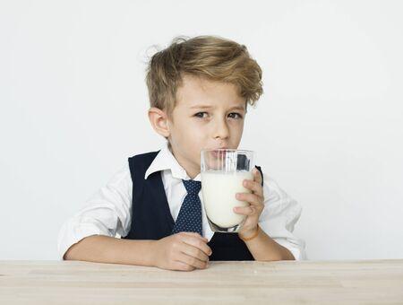 Boy Drinking Milk Healthy Nutrition