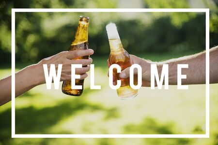 Cheers Welcome Friendship Celebrate Hello Stock Photo