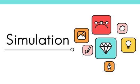 디자인 혁신 시뮬레이션 아이콘 그래픽