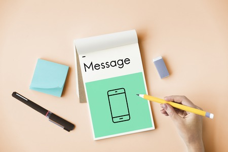 post: Mobile Phone Telecommunication Social Network Connection Stock Photo