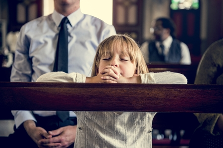 LIttle GIrl Praying Church Believe Faith Religious